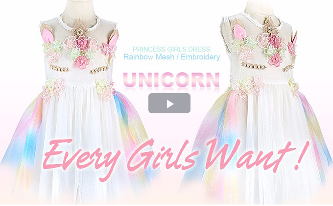 Girls Dress New Unicorn Embroidery Flower