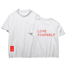 Women's Daily Wear Basic T-shirt - Letter White US8