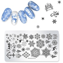 1 pcs Christmas Snowflake Deer Stamping Plate Round Stamp Template Manicure Nail Art Image Plate 1#