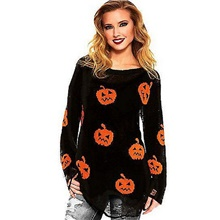 Women's Halloween Geometric Long Sleeve Pullover Sweater Jumper, Round Neck Black S / M / L Black,S