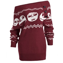 Women's Halloween Geometric Long Sleeve Pullover Sweater Jumper, Off Shoulder Black / Wine S / M / L Wine,S