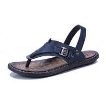 Men's Comfort Shoes Cowhide Summer Casual Sandals Walking Shoes Breathable Black / Brown / Dark Blue / Outdoor