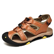 Men's Comfort Shoes Nappa Leather Summer Casual Sandals Walking Shoes Breathable Black / Brown / Outdoor