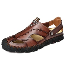 Men's Comfort Shoes Nappa Leather Summer British Sandals Walking Shoes Breathable Black / Light Brown / Dark Brown / Outdoor