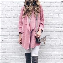 Women's Daily Fall & Winter Regular Coat, Solid Colored Turndown Long Sleeve Polyester Blushing Pink / Camel / Navy Blue