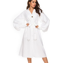 Women's Street chic Shirt Dress - Solid Colored Drawstring White M L XL