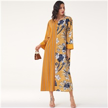 Women's Daily Work Casual Boho Shift Maxi Dress - Color Block Yellow M L XL XXL
