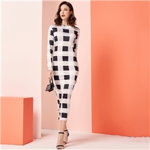 Women's Daily Work Casual Sophisticated Shift Maxi Dress - Color Block White M L XL XXL