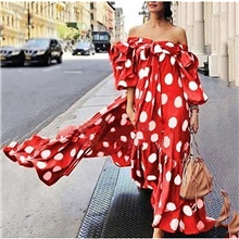Women's Vacation Holiday Beach Maxi Loose Swing Dress - Polka Dot Off Shoulder Black White Red S M L XL Red,S