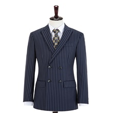 Midnight Blue Stripe Double Breasted Wool Custom Suit Pants ( US $10) ,XXS,Default Style(as seen on the photo),Standard style