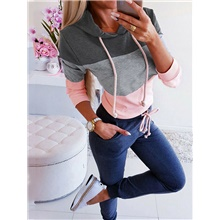 Women's Casual Hoodie - Color Block Black S Dark Gray,S