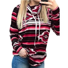 Women's Basic Hoodie - Striped Black S Red,S