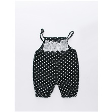 Baby Girls' Active / Basic Polka Dot / Patchwork Backless Overall & Jumpsuit Black Black,9-12 Months(80cm)