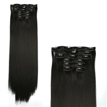 Hair Care Costume Accessories Extension Straight Matte Remy Human Hair Synthetic Hair 24 inch Hair Extension Clip In Clip In / On Toupee Dark Brown Light Brown 6Pcs / Lot Women Synthetic Easy dressing 1 piece,Black#1B,24 inch