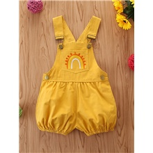 Baby Girls' Basic Geometric Overall & Jumpsuit Yellow Yellow,9-12 Months(80cm)