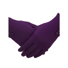 Women Winter Warm Touch Screen Gloves Elegant Solid Color Full Finger Gloves Purple