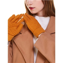 Women Winter Knitted Gloves Touch Screen Telefingers Gloves Ladies Warm Mittens Yellow