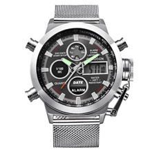 Men's Dress Watch Quartz Formal Style Sporty Stainless Steel Black / Silver 30 m Day Date Analog - Digital Luxury Fashion - White Black One Year Battery Life White