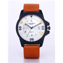 Men's Dress Watch Quartz Formal Style Leather Blue / Brown Calendar / date / day Casual Watch Analog Fashion - Orange Brown Blue One Year Battery Life / Stainless Steel Orange