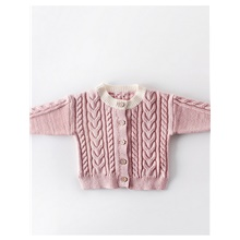 Baby Girls' Street chic Solid Colored Long Sleeve Sweater & Cardigan White Blushing Pink,9-12 Months(80cm)