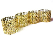 10pcs Gold Silver Napkin Ring Chairs Buckles Wedding Event Decoration Crafts Rhinestone Bows Holder Handmade Party Supplies Gold