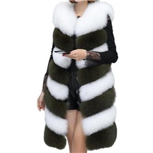 Women's Daily / Going out Fall / Winter Long Vest, Color Block Collarless Sleeveless Faux Fur Silver / Gray / Army Green Army Green