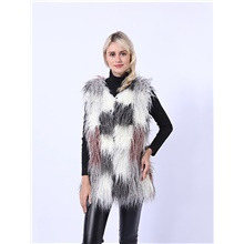 Women's Daily / Going out Fall / Winter Long Vest, Color Block Collarless Sleeveless Faux Fur Gray Gray
