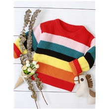 Baby Girls' Street chic Striped Long Sleeve Sweater & Cardigan Rainbow Rainbow,9-12 Months(80cm)