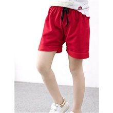 Baby Girls' Street chic Solid Colored Shorts Red Red,12-18 Months(90cm)