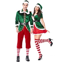 Cosplay Santa Claus Christmas Dress Adults' Men's Christmas Festival / Holiday Knitting Dark Green Men's Carnival Costumes / Top / Pants / Gloves / Belt / Socks Dark Green,M-Adult