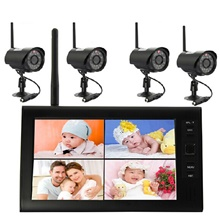 7-inch wireless DVR 2.4G video surveillance camera Supports four-screen simultaneous display EU Adapter,None