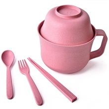 5pcs set wheat fabric material tableware spoon set anti-heat Pink