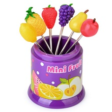 6PCS with box Colorful Stainless Steel Fax Fruit Fork Purple