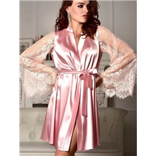Women's Deep V Robes Pajamas Solid Colored Blushing Pink,S