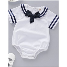 Baby Boys' Basic Color Block Short Sleeves Romper White White,9-12 Months(80cm)