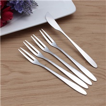 6pcs Fruit Fork Cake Knife Stainless Steel Snack Dessert Cutlery Set Wedding Gift Silver