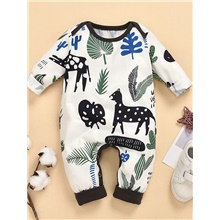 Baby Boys' Active Basic Deer Color Block Long Sleeve Romper White White,9-12 Months(80cm)