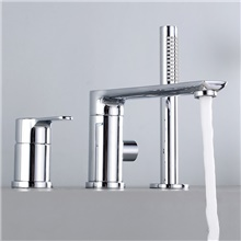 Bathtub Faucet - Contemporary Electroplated Roman Tub Ceramic Valve Bath Shower Mixer Taps Chrome