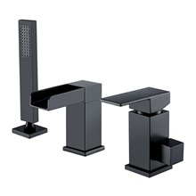 Bathtub Faucet - Contemporary Waterfall Painting Black Finish Three Holes Bath Shower Mixer Tap Set Handshower Include Other Countries