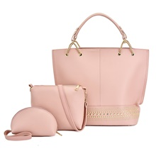 Women's Rivet / Zipper PU Bag Set Solid Color 3 Pcs Purse Set Blushing Pink / Red / Brown Blushing Pink