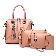 Women's Zipper PU Bag Set Solid Color 4 Pieces Purse Set Blushing Pink / Red / Blue Blushing Pink
