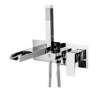 Bathtub Faucet - Contemporary Chrome Wall Mounted Bathtub Mixer Tap Waterfall Bath Shower Faucet Other Countries