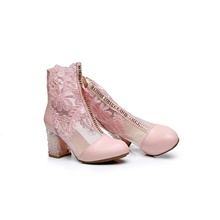 Women's Boots Chunky Heel Round Toe Leather Mid-Calf Boots Spring &  Fall Pink / Gold / White Pink,US3.5 / EU33 / UK1.5 / CN32