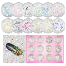 12 pcs Multi-Type / Universal Plastics Sequins For Finger Nail Romantic Series nail art Manicure Pedicure Daily Korean / Colorful 1#