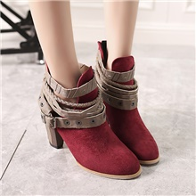 Women's Boots 2020 Chunky Heel Round Toe Buckle Faux Leather Booties / Ankle Boots British Spring &  Fall / Summer Wine / Black / Gray Wine,US5.5 / EU36 / UK3.5 / CN35