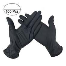 100PCS Disposable Latex Gloves Rubber Gloves Cleaning Gloves Work Gloves Black,M