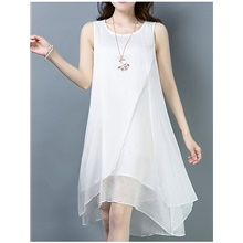 Women's Asymmetrical Sheath Dress - Sleeveless Solid Color Elegant White Black Red Blushing Pink Orange M L XL XXL White,M