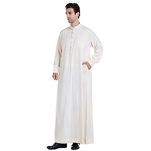 Men's Daily / Work Fall / Winter / Fall & Winter Long Abaya, Solid Colored Stand Long Sleeve Cotton / Polyester Wine / Blue / White