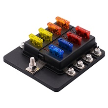 32V Car Automatic circuit breakers / 1 in 8 out Fuse Box with LED Indicator Light Screw Terminal Block / Send Double Fuse / Environmental Protection Material Black