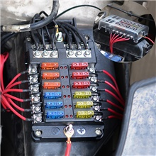 32V Car Automatic circuit / Independent Positive and Negative One in and Multiple out Fuse Box with LED Indicator Light 1 in 12 out / Distribution Double Fuse / Easy Installation Black